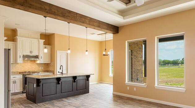 Kitchen and lobby view of new home in Pharr, txTx