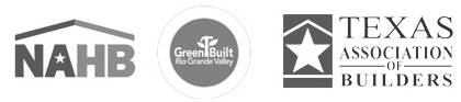 'National Association of Home Builders' certificate, 'Green Built Rio Grande Certificate', and 'Texas Association of Builders' certificate